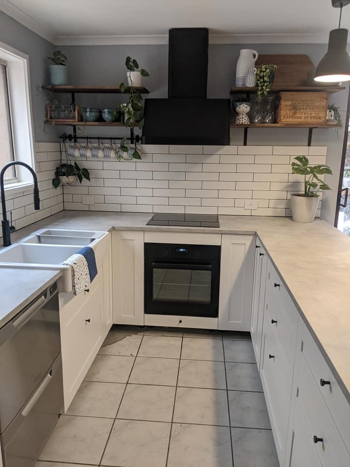 inside view of flat pack kitchen