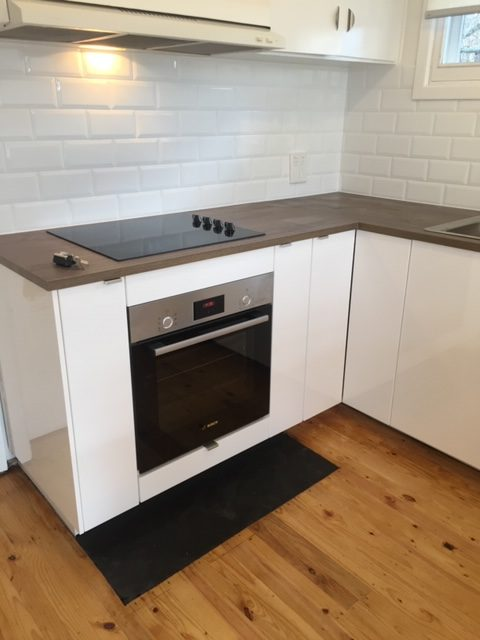 close up of flat pack kitchen installation