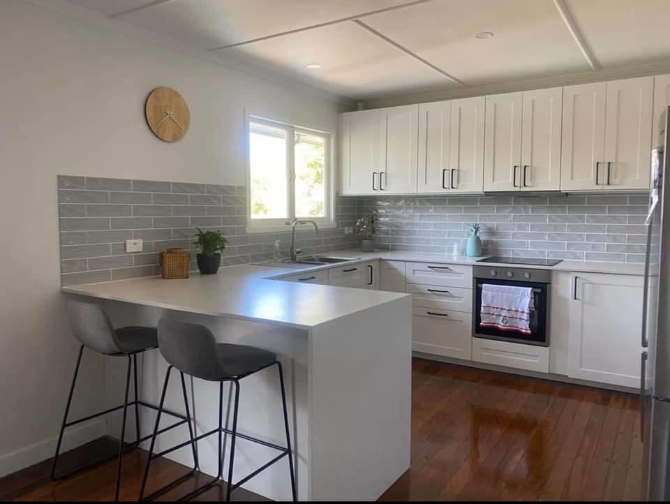 white recessed panel door kitchen