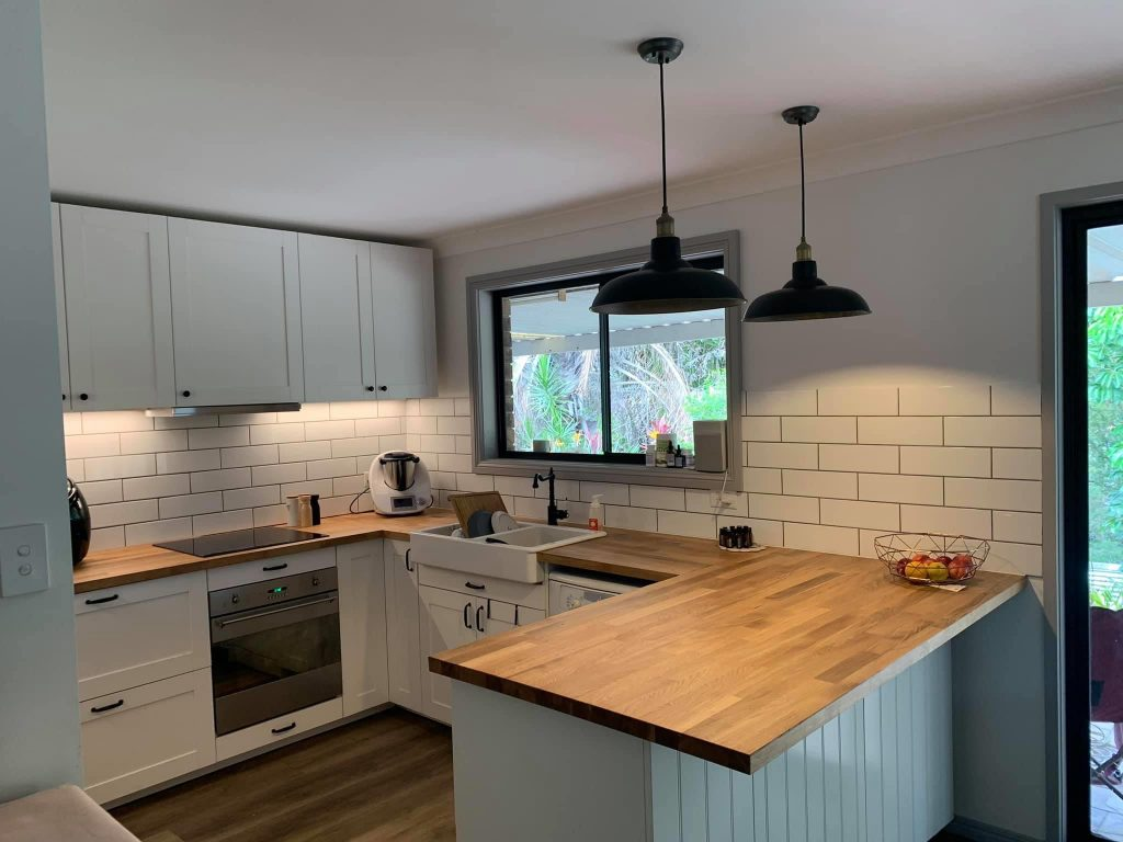 timber look benchtop white kitchen