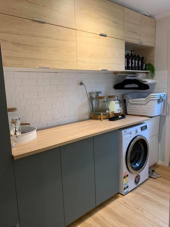 timber and grey laundry installed by FPB